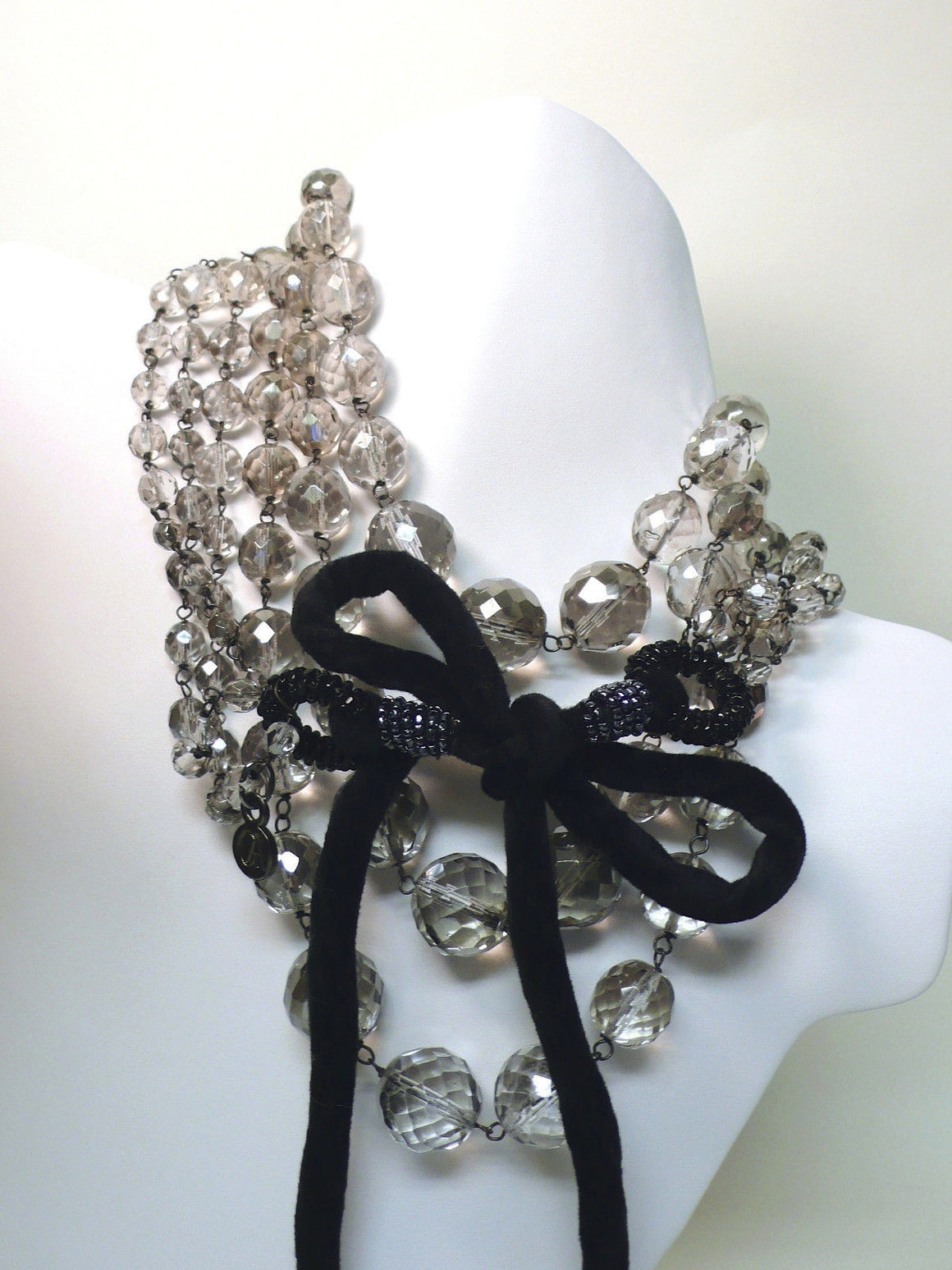 bisbiz.com GIORGIO ARMANI  Fabulous Triple Row Graduated Faceted Smoky Crystal Black Velvet Tie Necklace - Bis Luxury Resale