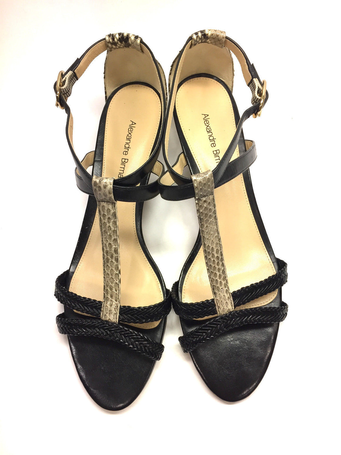 bisbiz.com ALEXANDRE BIRMAN   Black Braided Leather Python  T-Ankle Strap Sandals  Size: 37.5/7.5 - Bis Luxury Resale