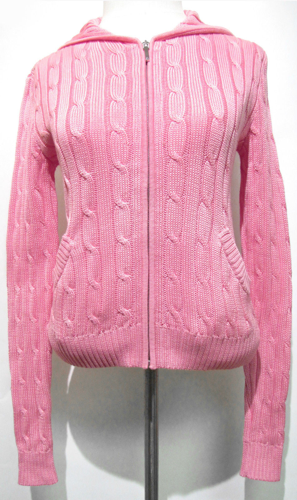 bisbiz.com RALPH LAUREN  Black Label  Pink Cotton Cable-Knit Hood Cardigan Sweater Top Size: Small - Bis Luxury Resale