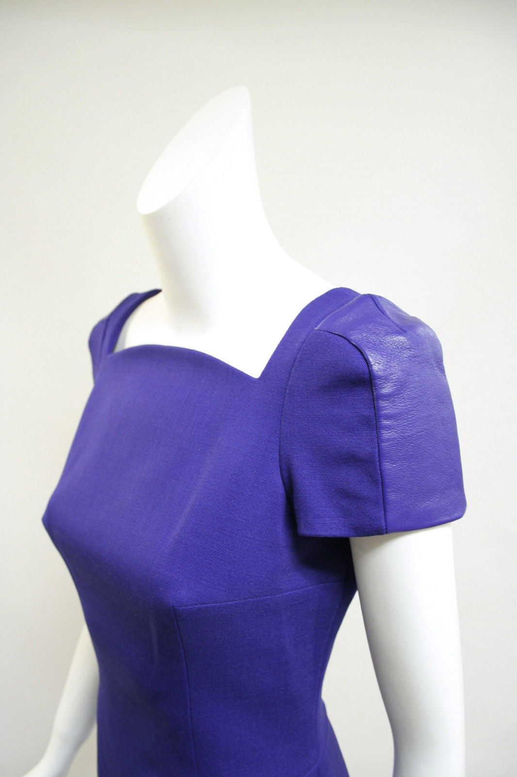 bisbiz.com VERSACE Purple Wool-Blend Body-con Dress with Leather Banded  Short Sleeves  Size: 6 - Bis Luxury Resale