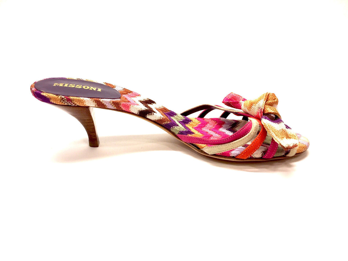bisbiz.com MISSONI  Multicolor Signature Knit & Suede Kitten-Heel Bow  Kitten-Heel  Slip-On Mules Sandals  Size: 7 - Bis Luxury Resale
