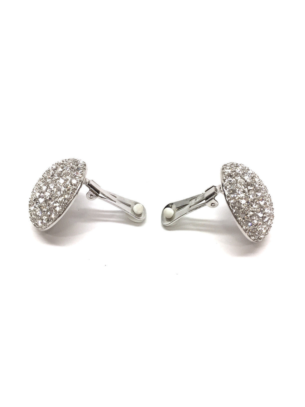 bisbiz.com SCAASI Clear Crystal Pave Dome Button Clip Earrings - Bis Luxury Resale