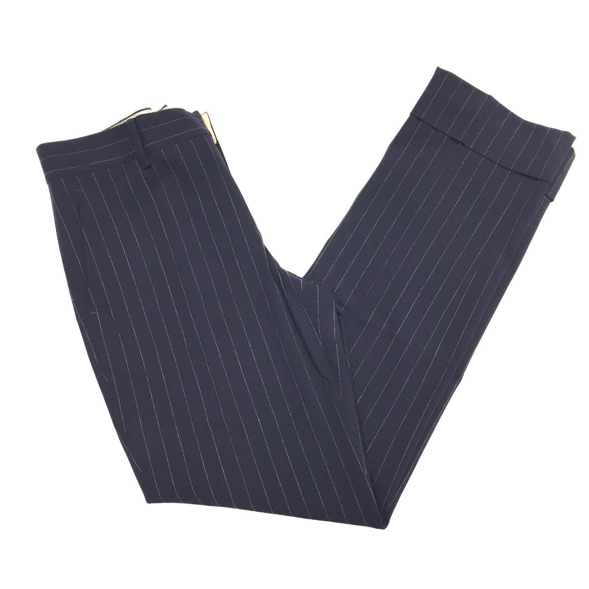 bisbiz.com JEAN PAUL GAULTIER FEMME Navy/White Pinstriped Wool-Blend Pants Size: IT 40 / 6 - Bis Luxury Resale