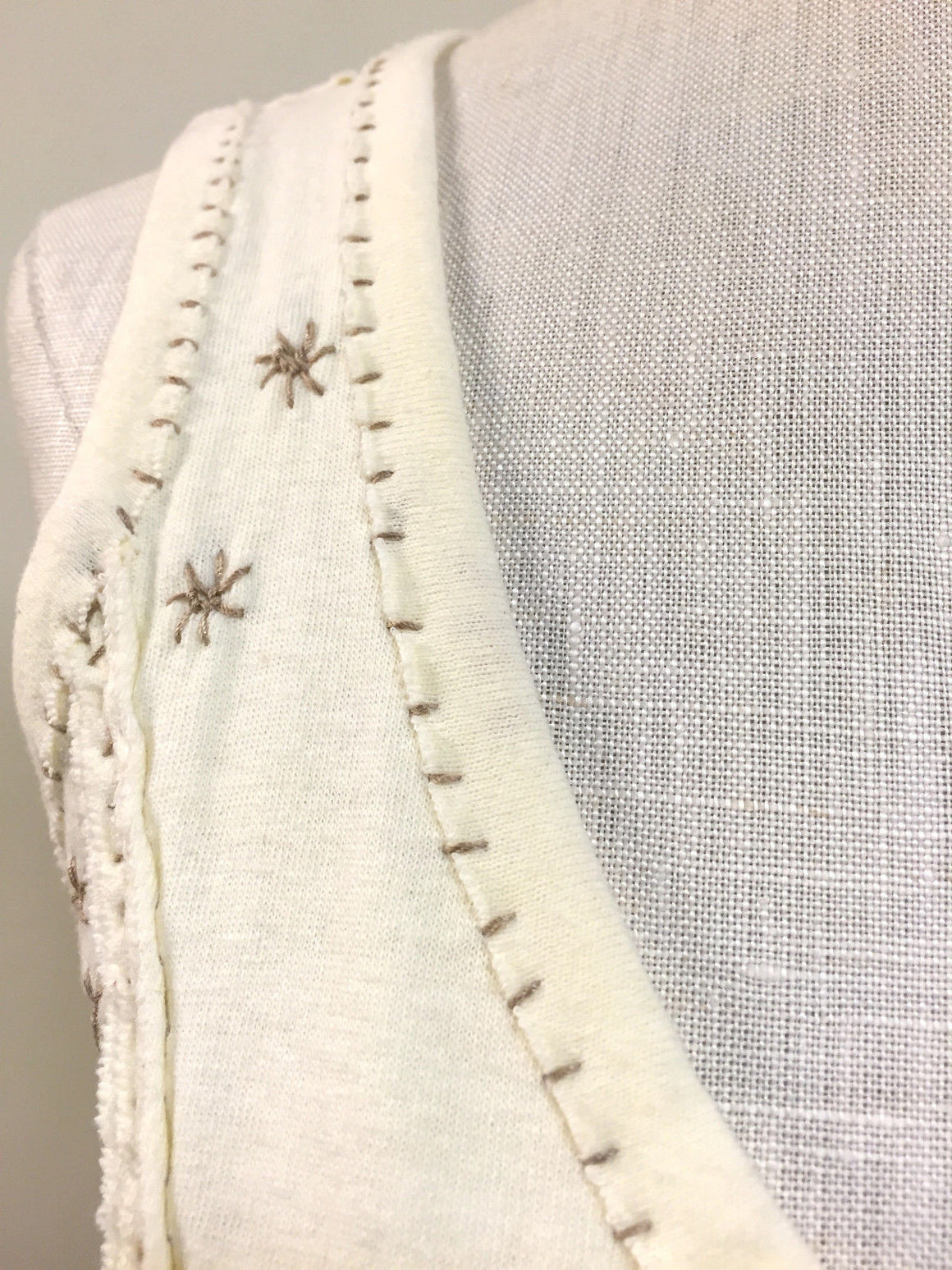 bisbiz.com PROJECT ALABAMA Cream-White Cotton Taupe Hand Embroidery Sleeveless Blouse Top Size: XS - Bis Luxury Resale