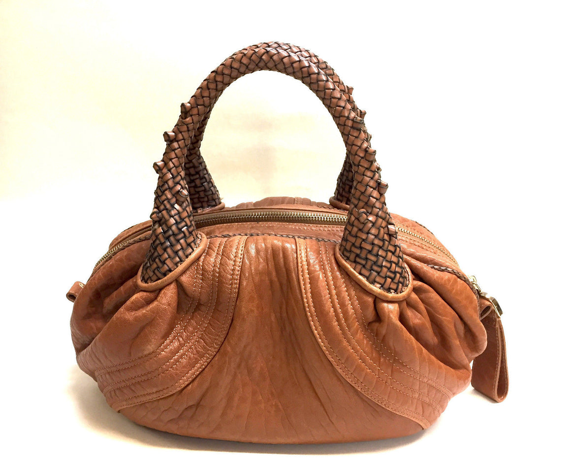 "bisbiz.com FENDI Caramel Textured Nappa Leather Zucca Lining Baby ""SPY"" Hand Bag - Bis Luxury Resale"