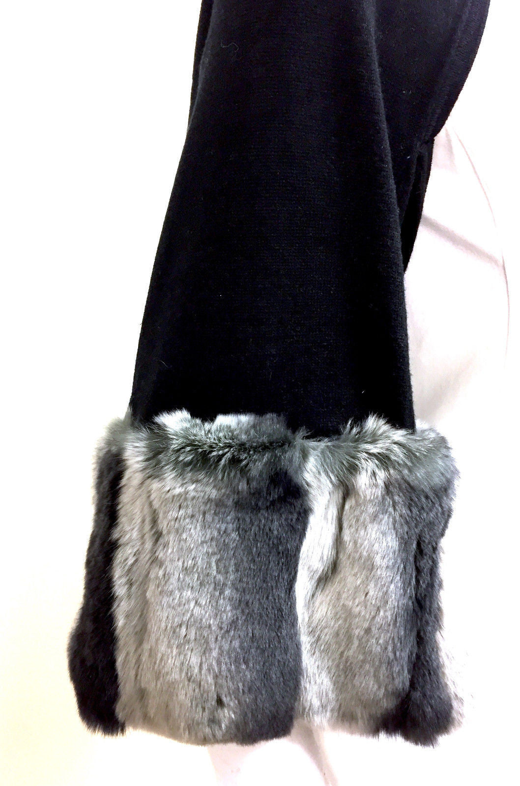 bisbiz.com HARRISON MORGAN Black Silk & Cashmere Shrug Bolero Scarf with Gray Fur Cuffs Size: One Size - Bis Luxury Resale