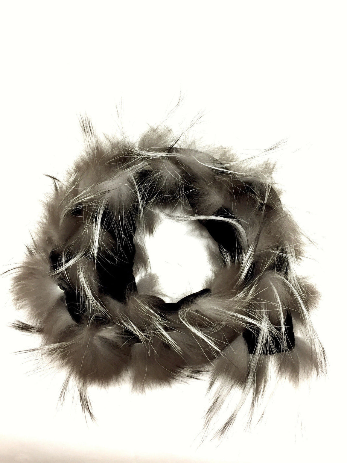 bisbiz.com ADRIENNE LANDAU Black Silk & Velvet Mini Boa with Silver Fox Fur Tips - Bis Luxury Resale