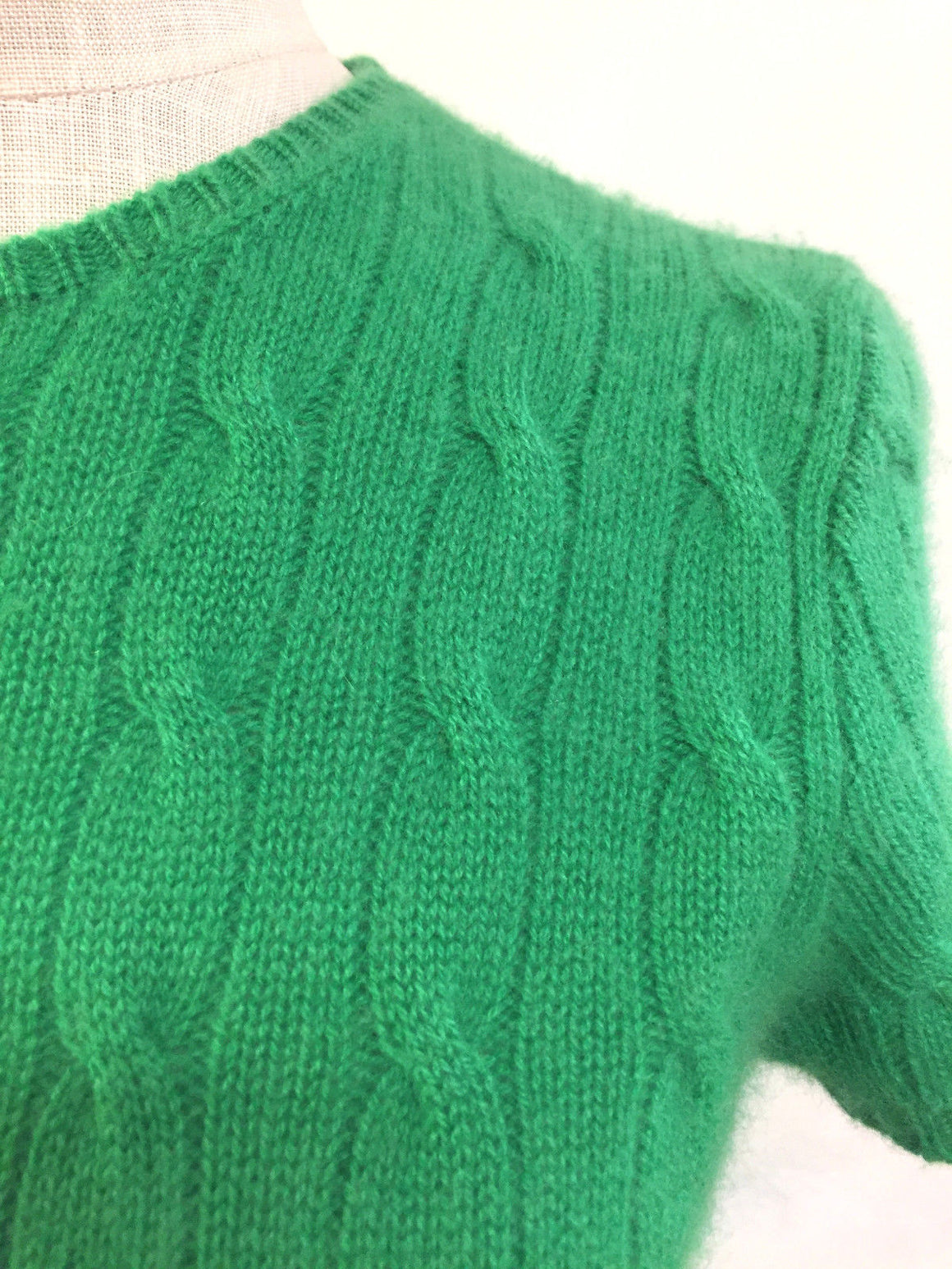RALPH LAUREN Emerald-Green Cable-Knit Cashmere Short-Sleeve Sweater Top Size: Medium/Large