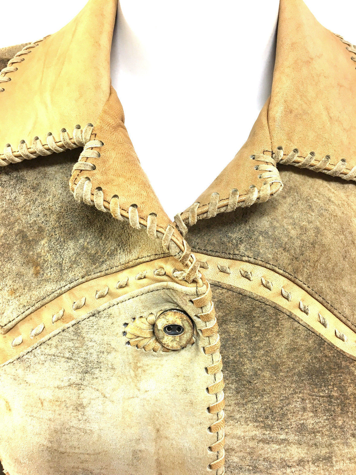 bisbiz.com KEMO SABE Beige/Gray Variegated Suede & Tan Leather Western-Style Jacket  Size: US6 - Bis Luxury Resale