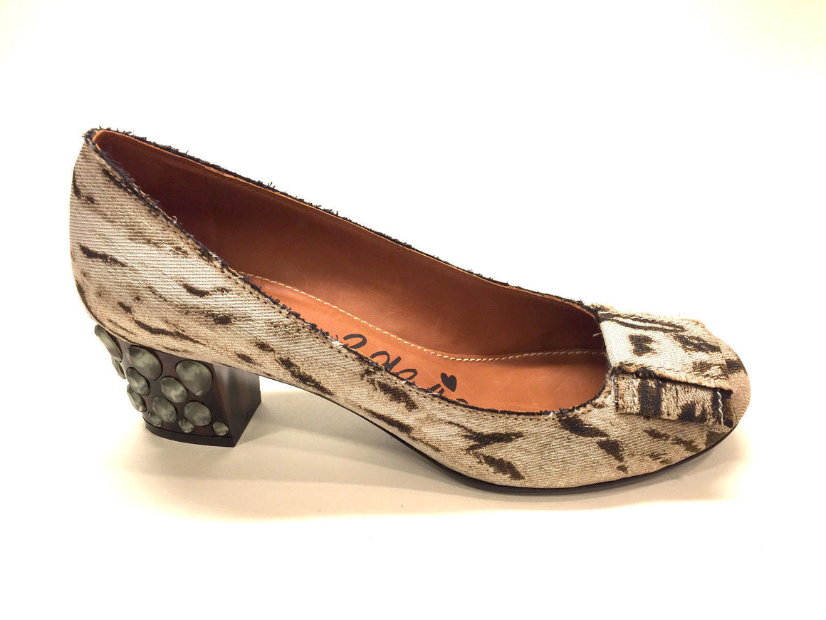 bisbiz.com LANVIN Beige/Brown Animal-Print Silk Jeweled Heels Ballet Bow Shoes Pumps Size: 40/10 - Bis Luxury Resale