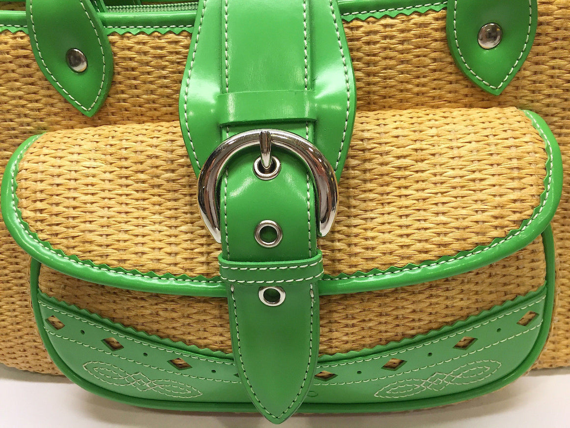 bisbiz.com SOCO Natural Woven Raffia Green Faux Leather Accents Bamboo Handles Bag - Bis Luxury Resale
