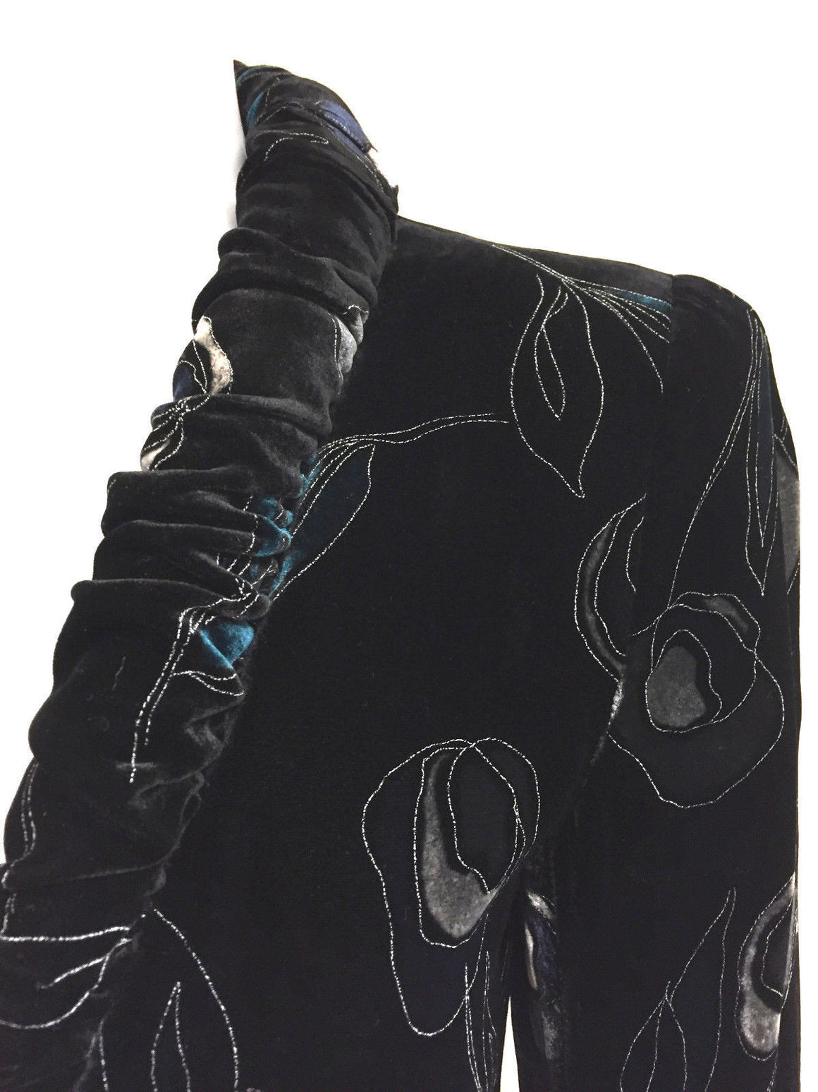 bisbiz.com GIORGIO ARMANI   Black Label  Black/Multi-Color Floral-Patterned Stenciled Velvet Jacket  Size: IT44 / 8 - Bis Luxury Resale