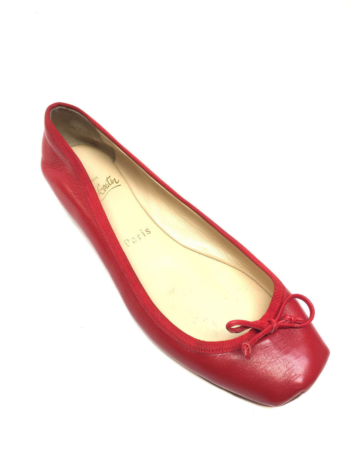 bisbiz.com CHRISTIAN LOUBOUTIN  Red Leather Ballet Flats Shoes  Size: 37.5 - Bis Luxury Resale