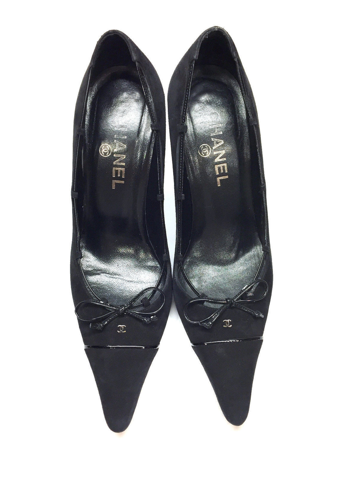 bisbiz.com CHANEL  Black Suede Patent Leather Bow Heel Pumps Shoes  Size: 37.5 / 7.5 - Bis Luxury Resale