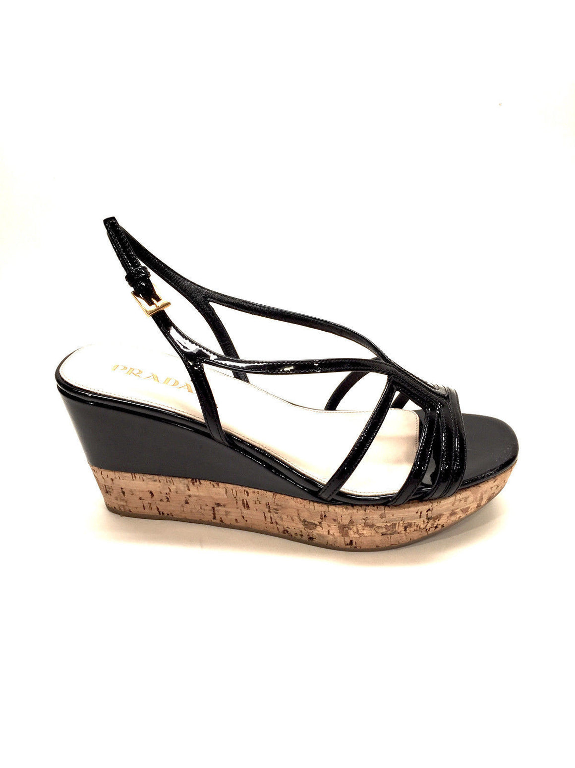 bisbiz.com PRADA  Black Patent Leather Cork Platform Wedge-Heel Strappy Sandals Mules  Size: 37.5 / 7.5 - Bis Luxury Resale
