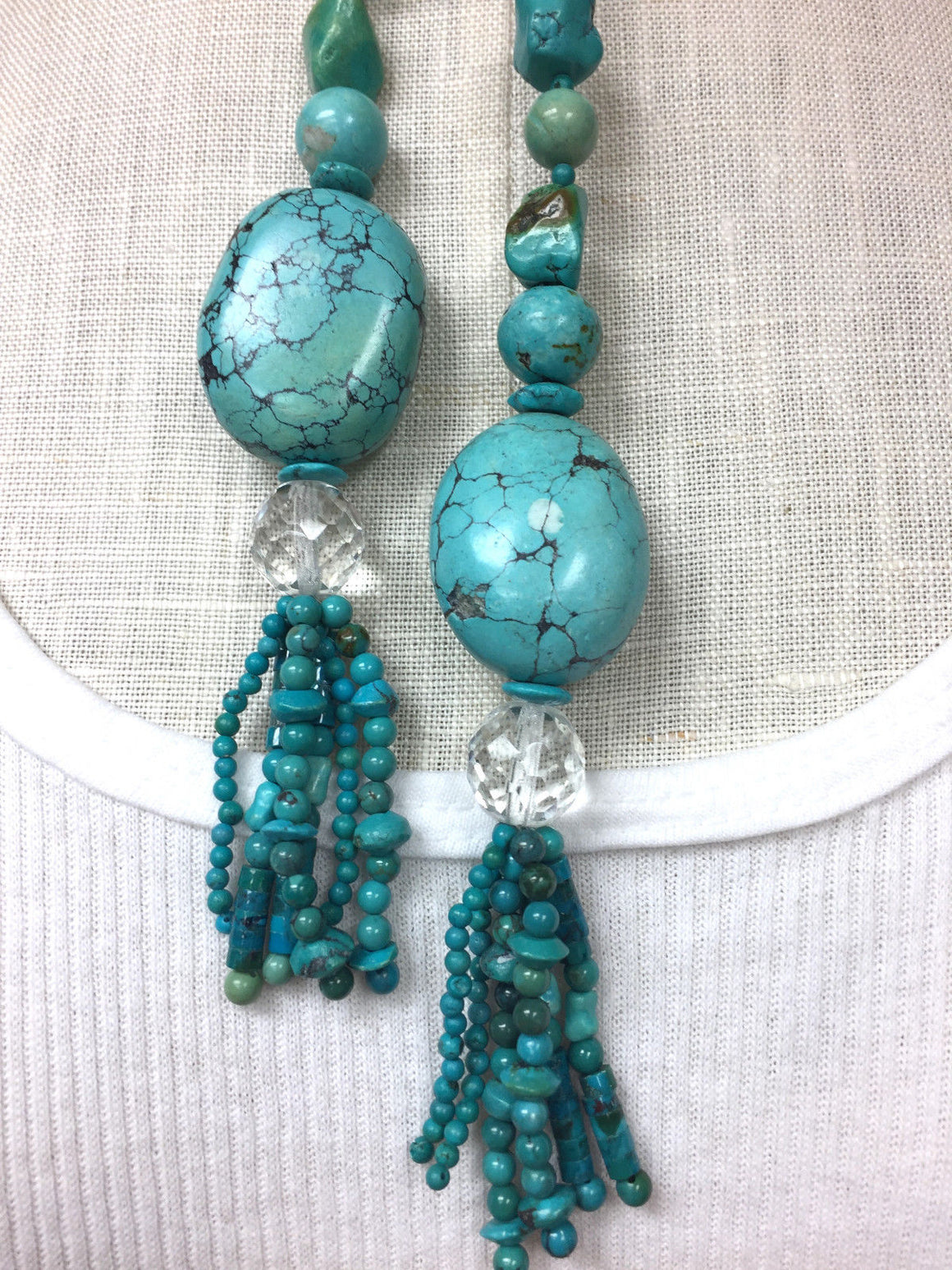 TURQUOISE Beads Nuggets & Roundels Tassel-End Lariat / Necklace