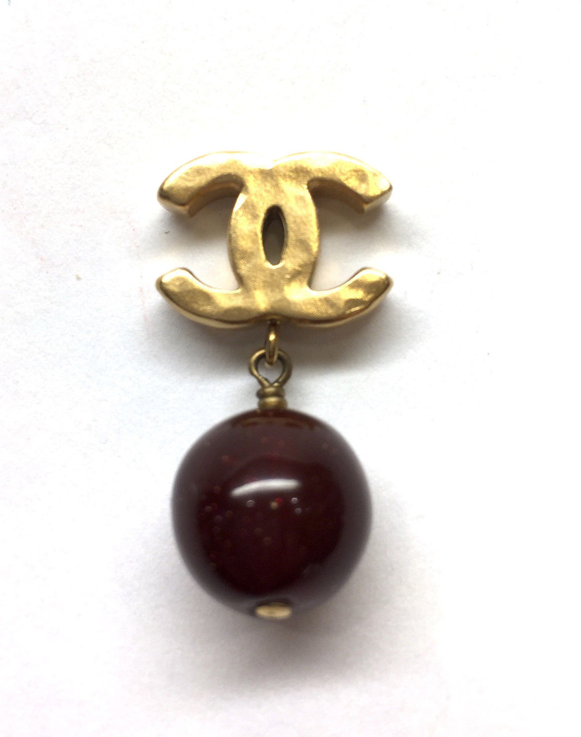 bisbiz.com CHANEL 2011 Autumn Collection  Hammered Gilt Metal Logo Post Earrings with Red Shimmery Bead Drop - Bis Luxury Resale