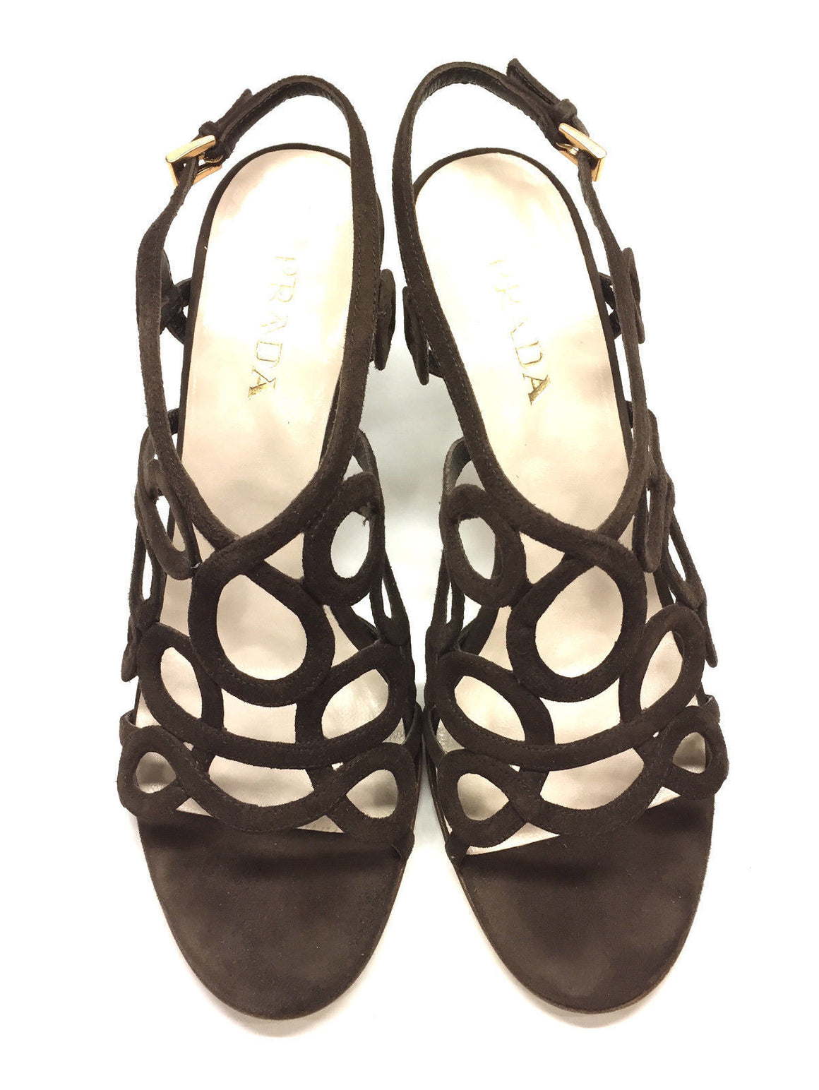 bisbiz.com PRADA   Brown Suede Scrolled Straps Cage Slingback  Heel Sandals Shoes  Size: 7.5 - Bis Luxury Resale