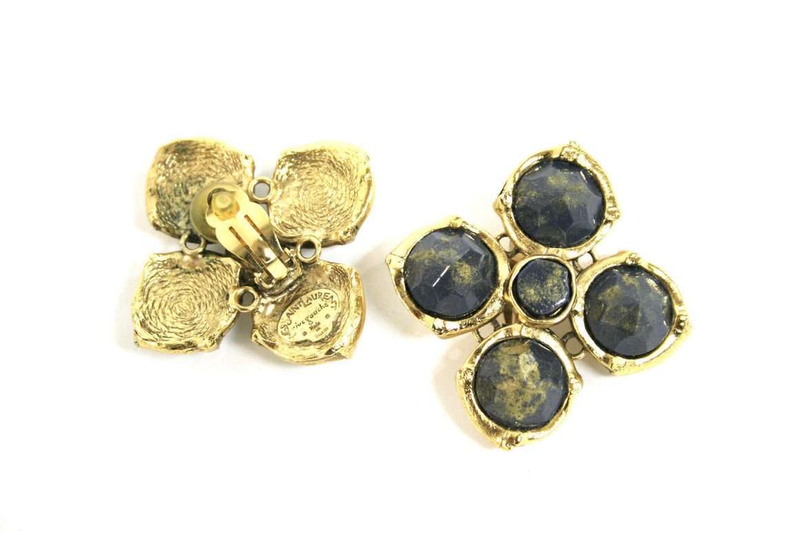 bisbiz.com YSL Gilt Metal Clover Clip-on Earrings with Gold Washed Blue Stones - Bis Luxury Resale