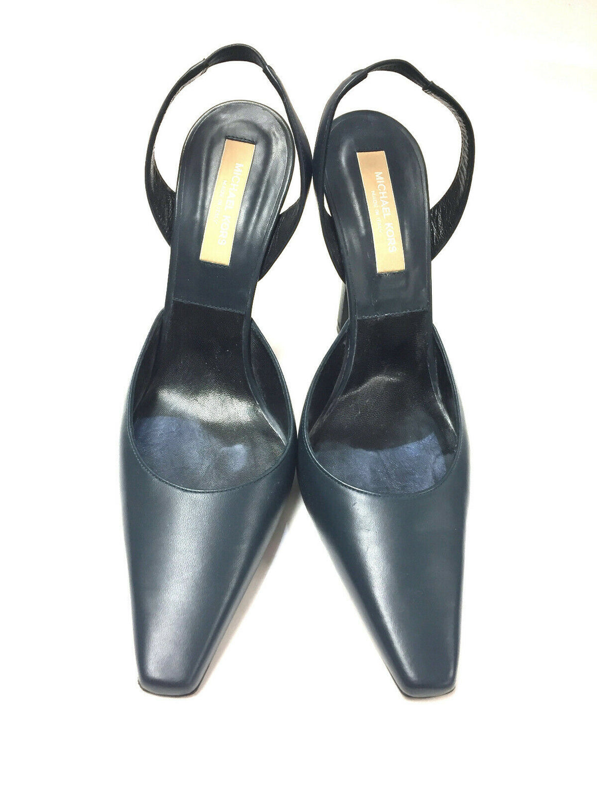 MICHAEL KORS Navy-Blue Leather Hi-Heel Slingbacks Pumps Size: EU39.5 / US9.5