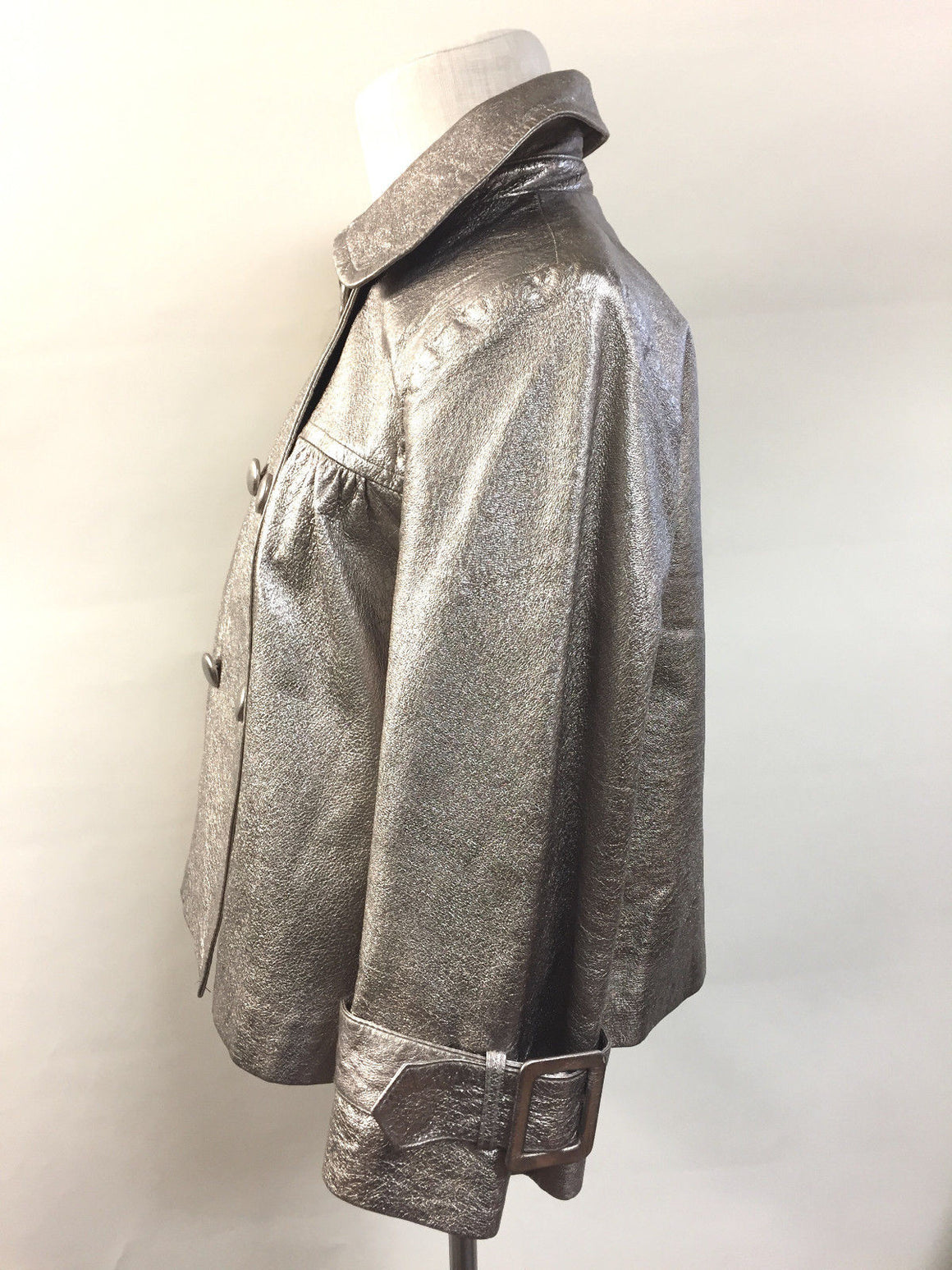 bisbiz.com REVUE Oxidized Silver Metallic Leather Double-Breasted Short Pea Coat Jacket  Size: M - Bis Luxury Resale