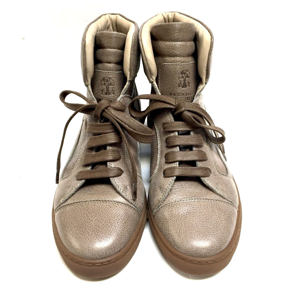 bisbiz.com BRUNELLO CUCINELLI  Taupe Grained Leather Hi-Top Sneakers Shoes   Size: 38.5 / 8.5 - Bis Luxury Resale
