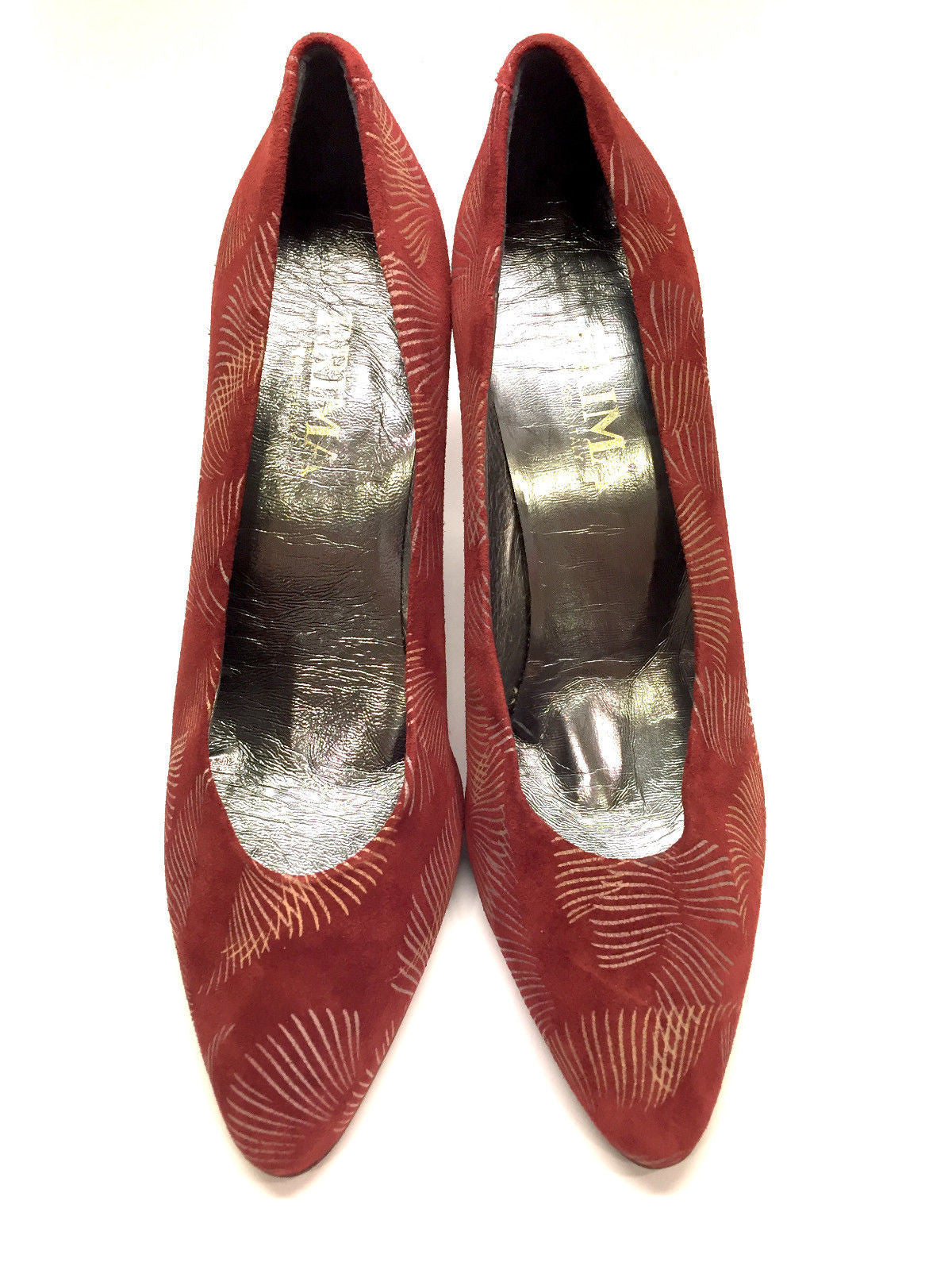 red designer pumps 3e9t  PRIMA Italy Red Stenciled Suede Heel Pumps Size: 8