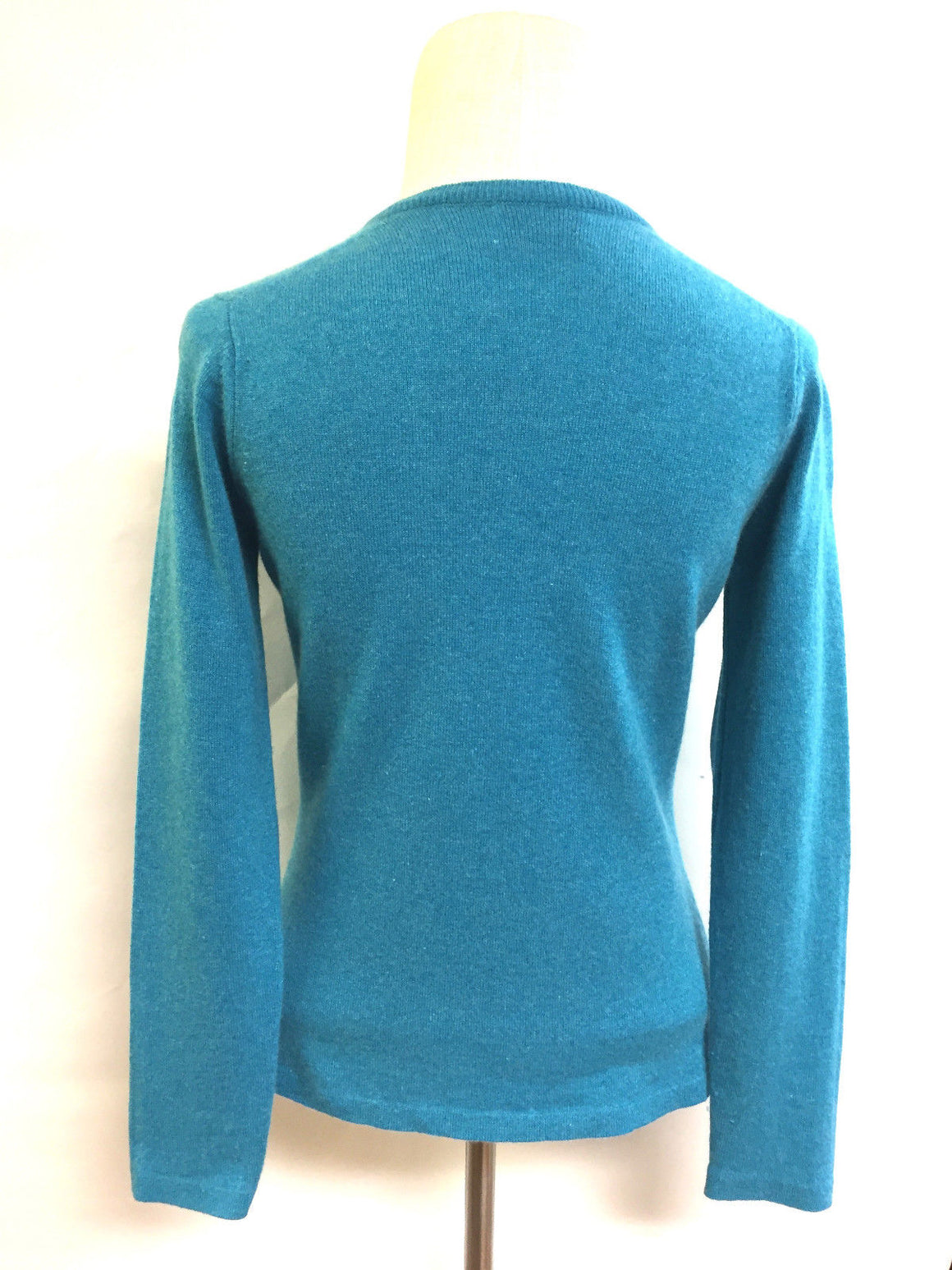 bisbiz.com BRORA Turquoise Cashmere V-Neck Cardigan Sweater Top  Size: UK10 / US Small - Bis Luxury Resale