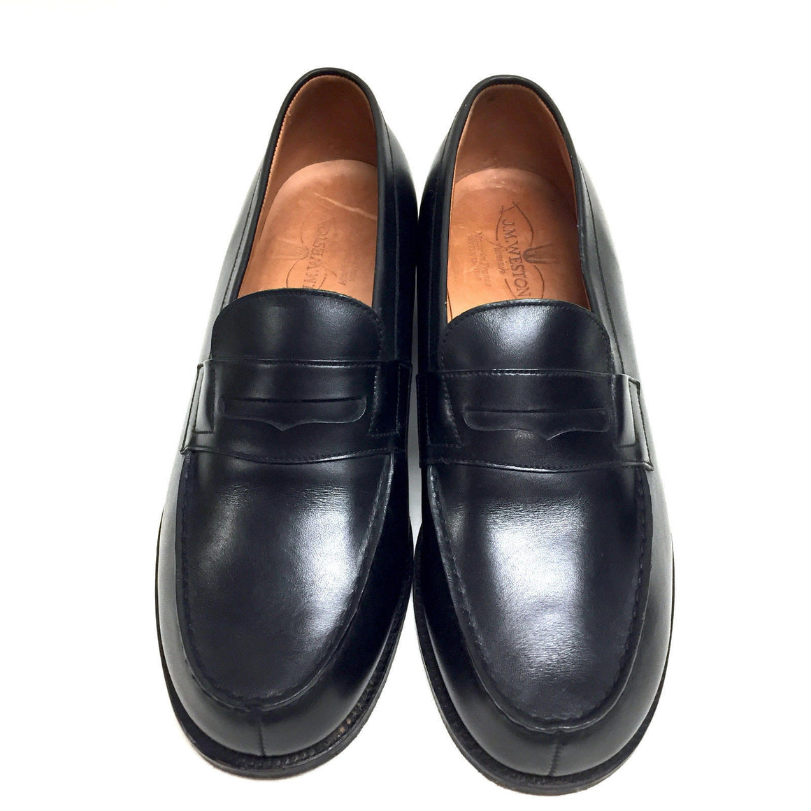 bisbiz.com J. M. WESTON  Black Leather Classic Penny Loafers  Shoes  Size: EU 5.5E / US 9 - Bis Luxury Resale