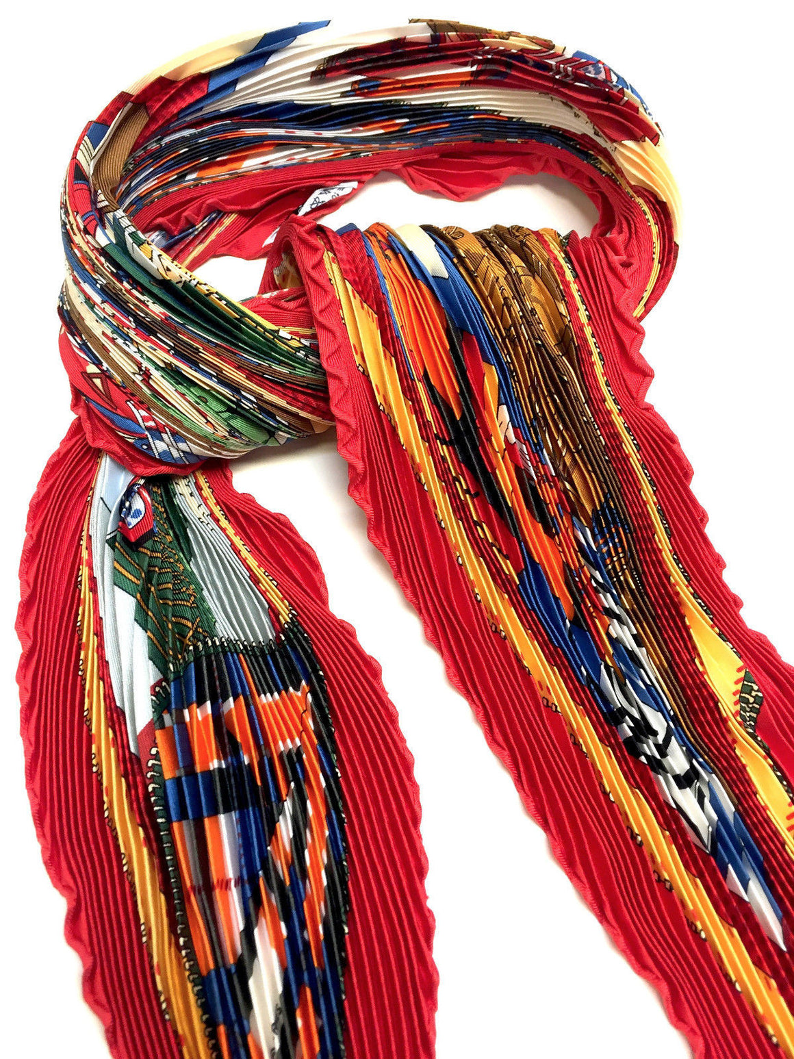 "bisbiz.com HERMES Red/Multicolor ""L'ELEGANCE et le CONFORT en AUTOMOBILE""  Pleated Silk Twill Scarf (Latham) - Bis Designer Resale"