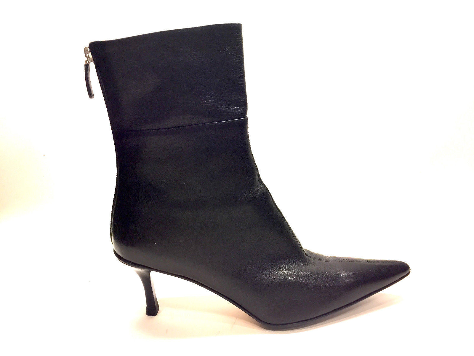 20710ed83 ... bisbiz.com GUCCI Black Grained Leather Medium Heel Ankle Boots/Booties  Size: 8.5 ...