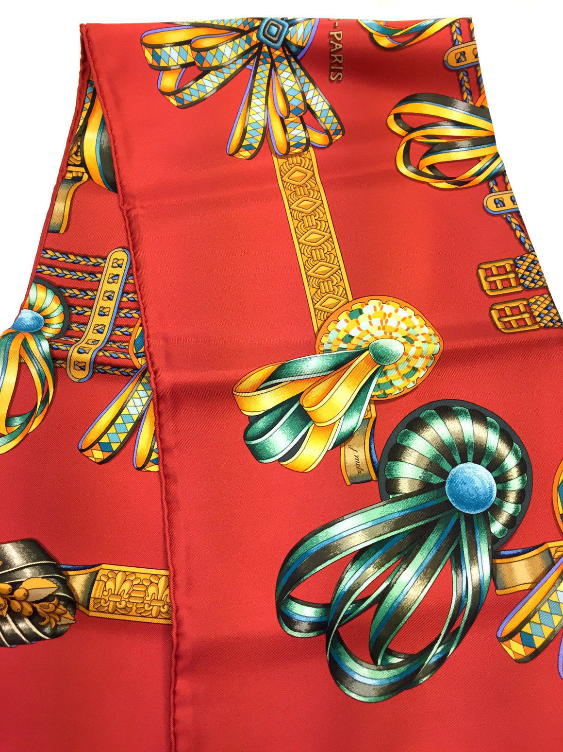 "bisbiz.com HERMES New Vintage Red/Multicolor ""LES RUBANS du CHEVAL"" Silk Twill Scarf by J. Metz - Bis Luxury Resale"