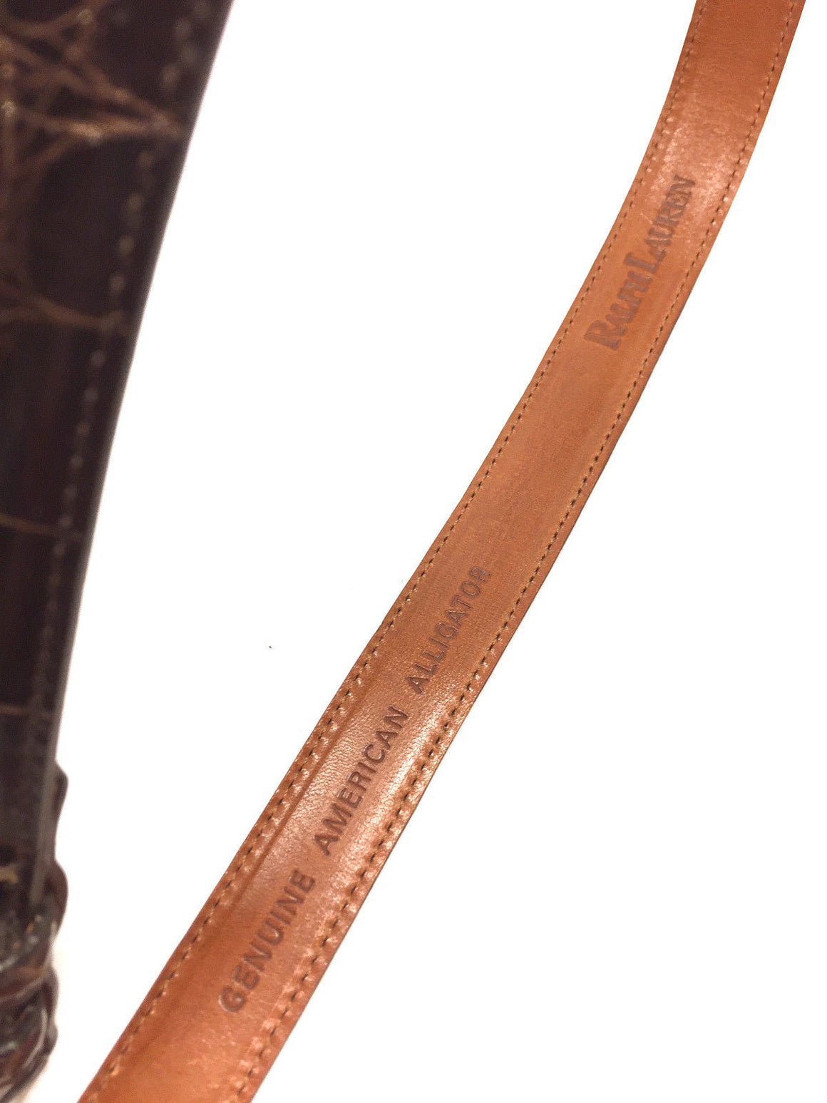 RALPH LAUREN Vintage Brown American Alligator Sterling Silver Buckle Waist Belt Size: 30 / 75
