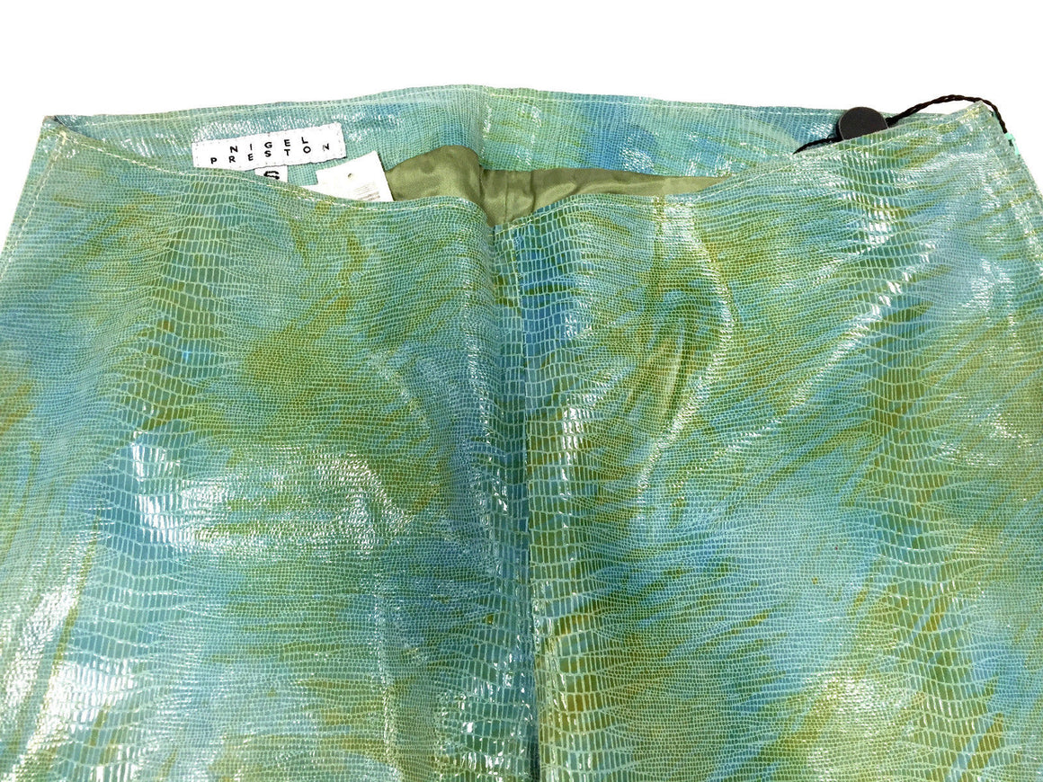 NIGEL PRESTON Vintage Turquoise/Multicolor Lizard Print Suede Pants Size: Small