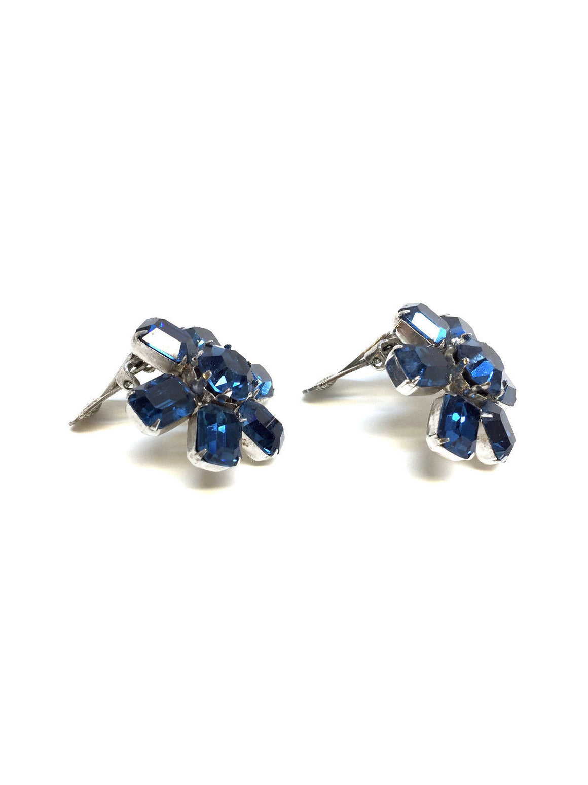 bisbiz.com WEISS VINTAGE Sapphire-Blue Faceted Crystal Flower Clip Earrings - Bis Luxury Resale