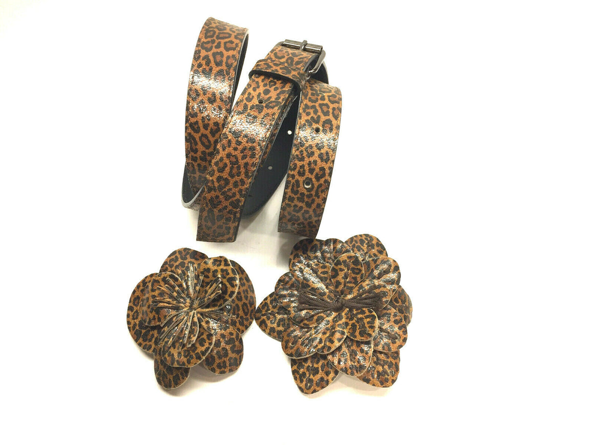 ANNE FONTAINE  Tan/Black Animal-Print Leather Two-Flower Waist Belt