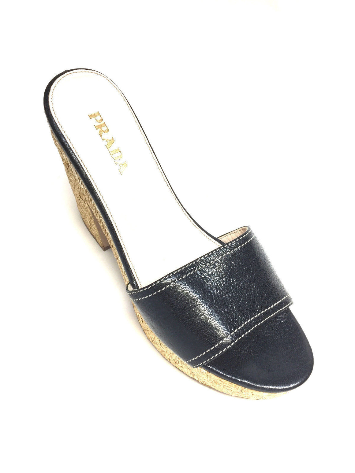 bisbiz.com PRADA  Black Leather Woven Raffia Platform & Heel  Open-Toe Slip On Mules  Size: 39.5 / 9.5 - Bis Luxury Resale