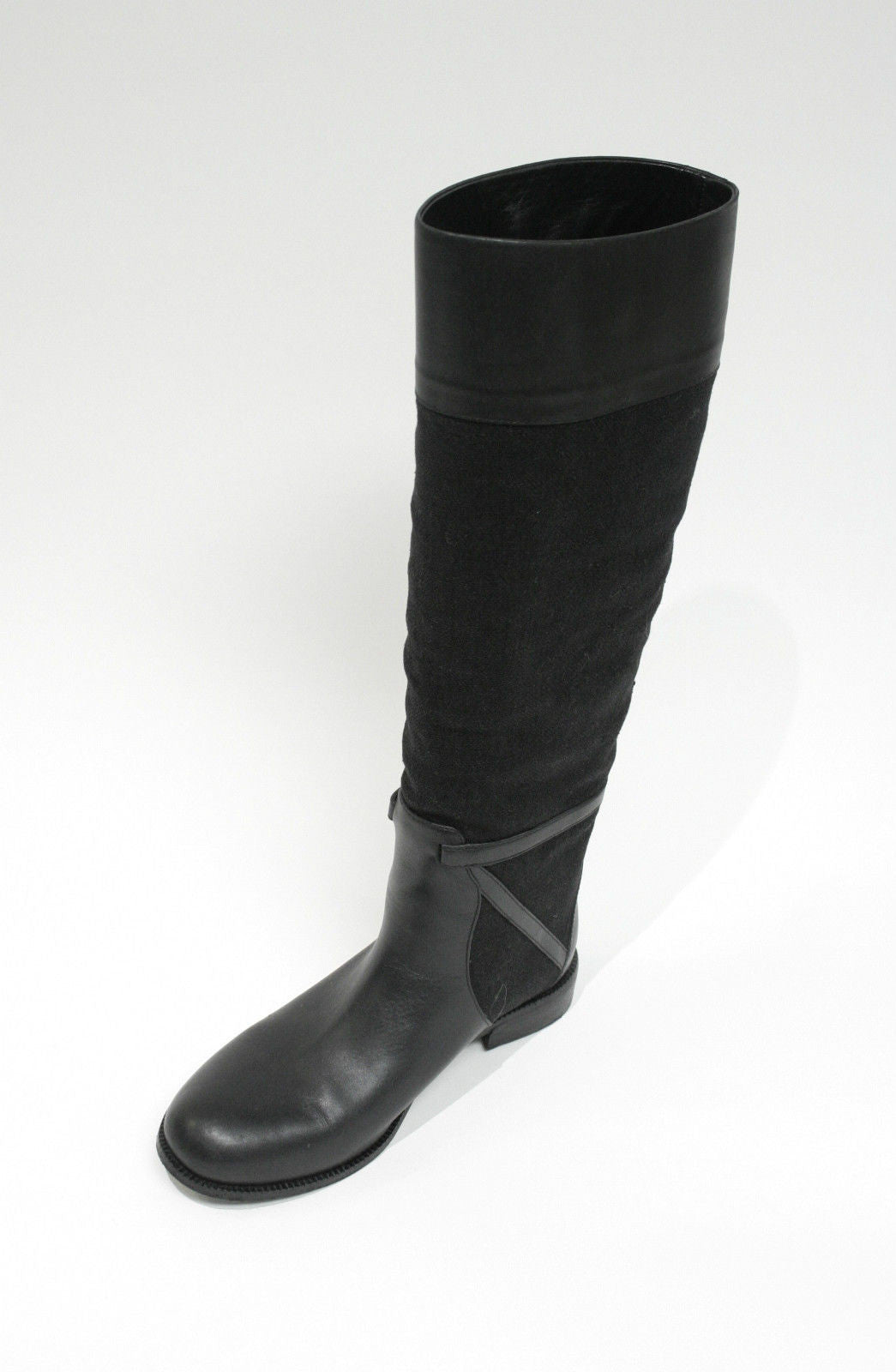 bisbiz.com BOTTEGA VENETA  Black Leather & Linen Tall Knee-High Flat Riding Boots  Size: 36 / 6 - Bis Luxury Resale