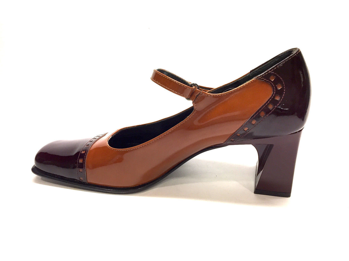 bisbiz.com BRUNO MAGLI   Tan/Burgundy Patent Leather Sculpted Block Heels MaryJane Pumps  Size: 36.5 / 6.5 - Bis Luxury Resale