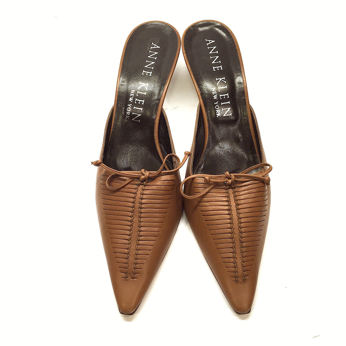 bisbiz.com ANNE KLEIN  Tan-Brown Leather Slit Uppers Slip-On  Bow Mules Pumps Shoes  Size: 8M - Bis Luxury Resale
