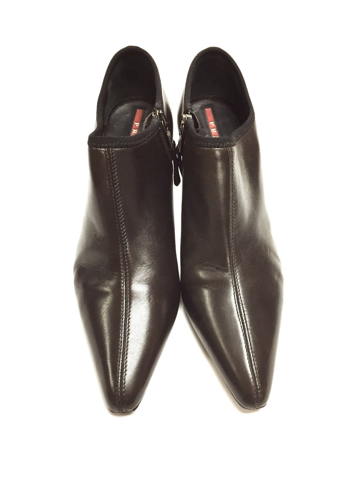bisbiz.com PRADA Brown Leather Black Rubber Soles Ankle Boots/Booties Size: 7.5 - Bis Luxury Resale