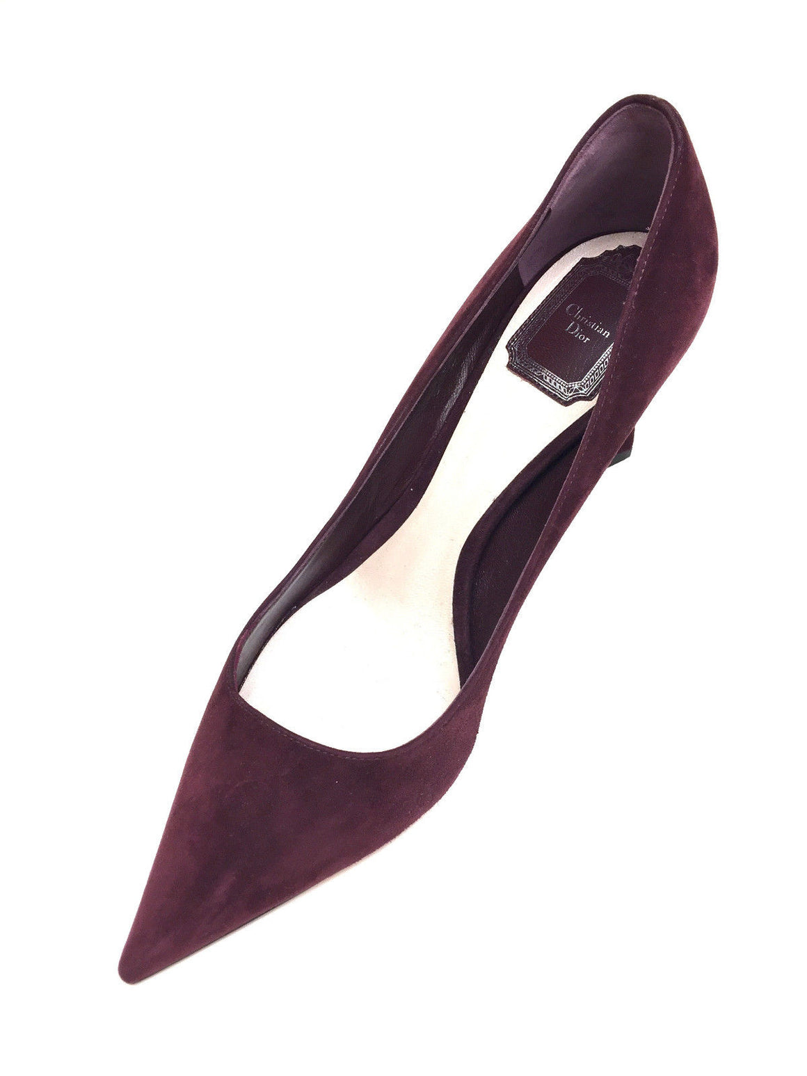 bisbiz.com CHRISTIAN DIOR  Burgundy Suede Pointed-Toe Sculpted Heels Pumps  Size: 39 / 9 - Bis Luxury Resale