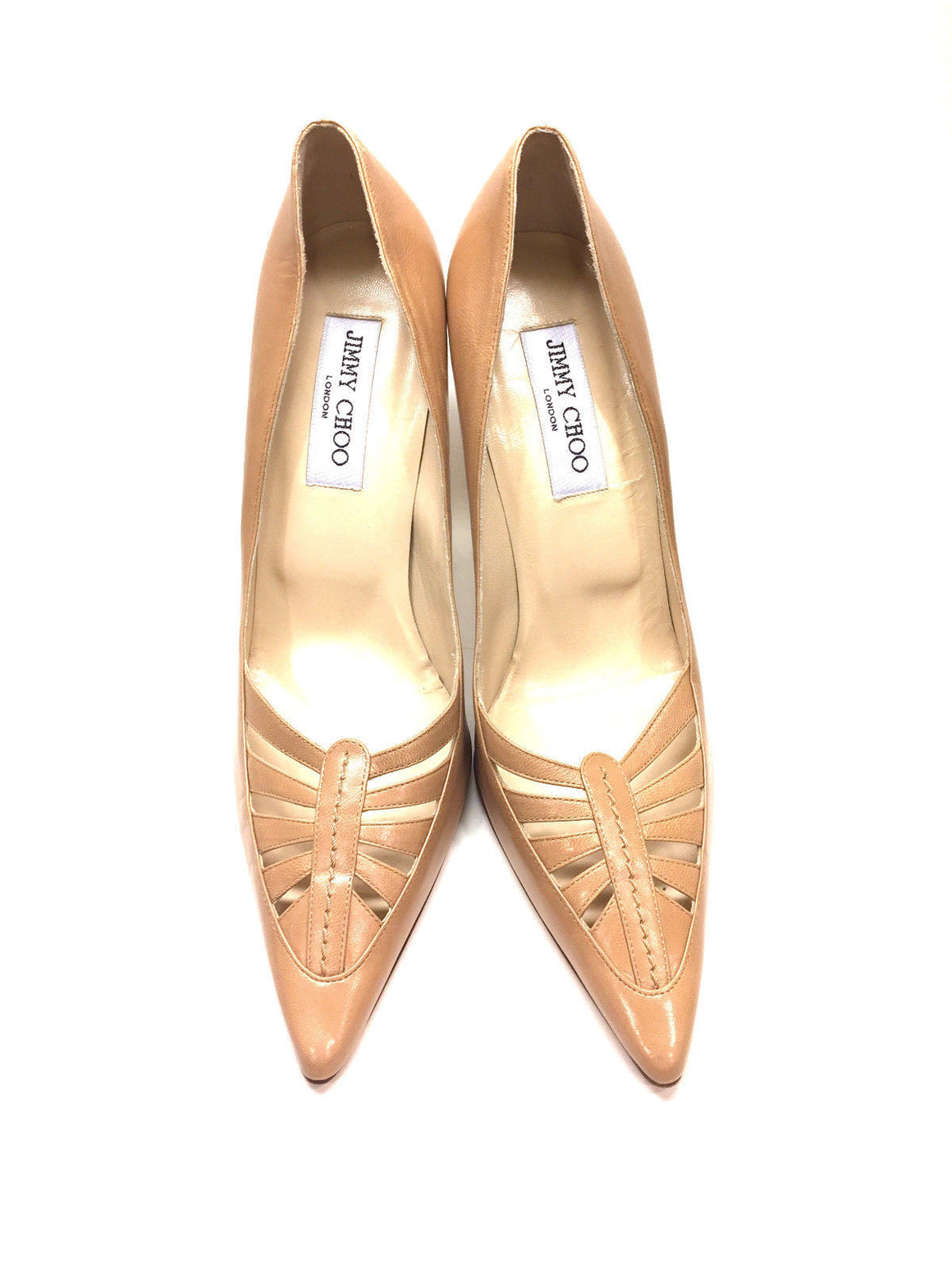 bisbiz.com JIMMY CHOO   Beige Leather Pointed-Toe Hi-Heel Pumps with Cut-Outs  Size: 40 / 10 - Bis Luxury Resale