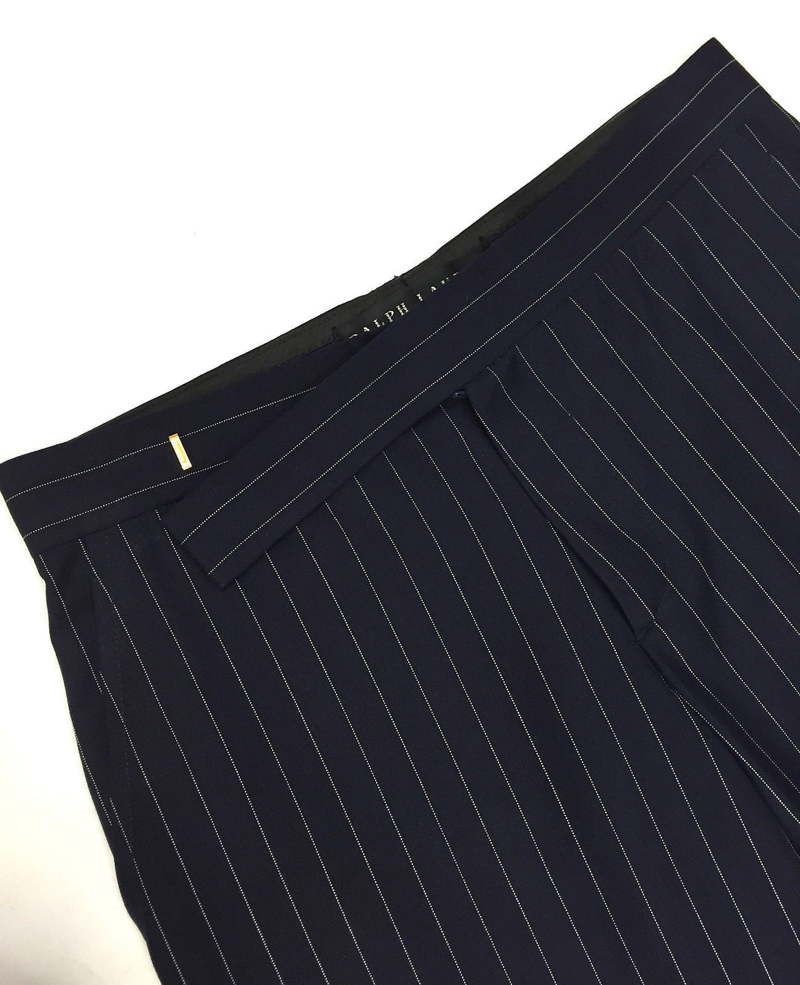 bisbiz.com RALPHA LAUREN BLACK LABEL Navy/White Pinstriped Wool Straight Leg Cuffed Dress Pants Size: 4 - Bis Luxury Resale
