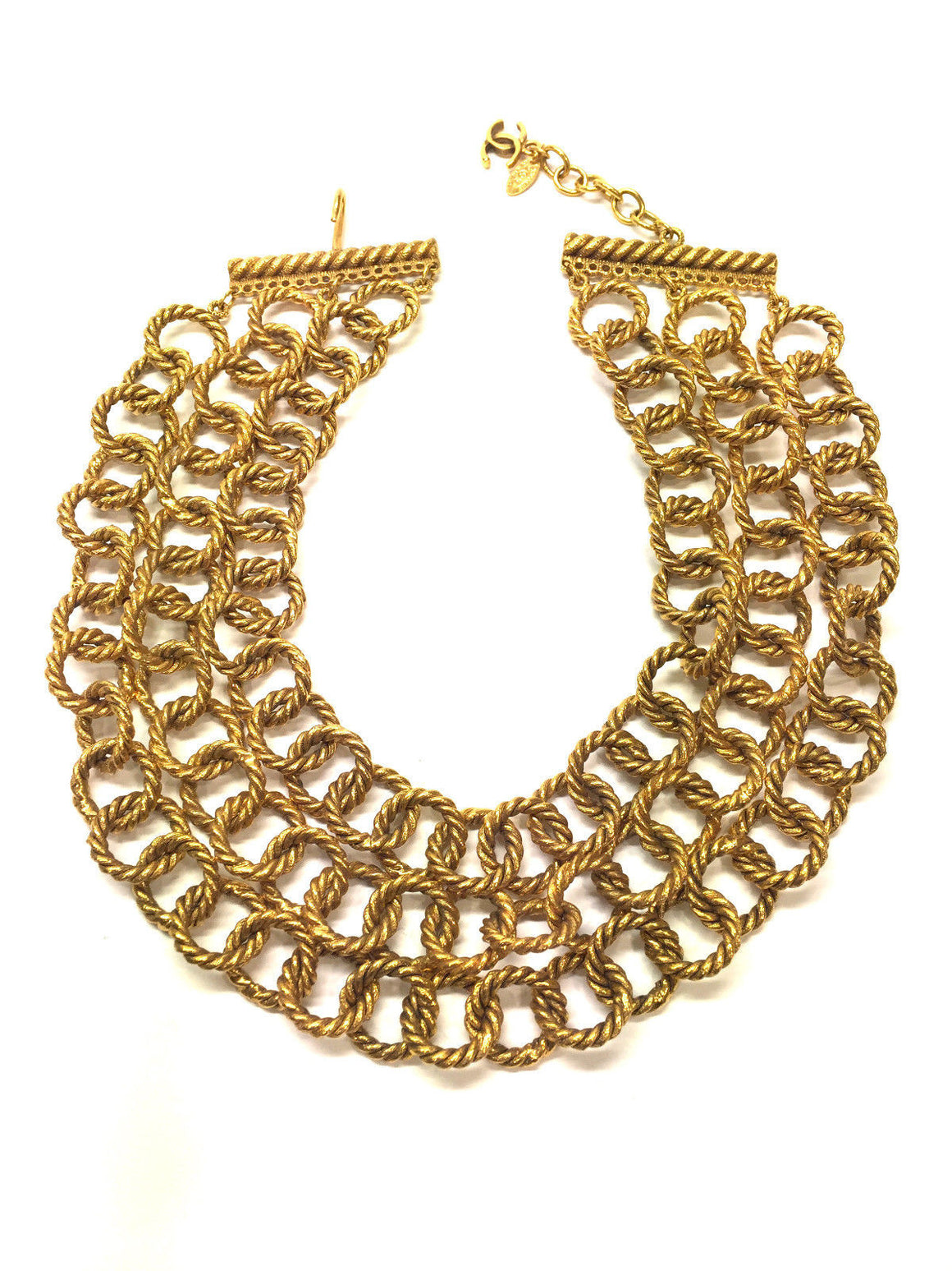 bisbiz.com CHANEL  Vintage  Gilt Metal Triple Strand Cabled Links Statement Necklace - Bis Luxury Resale
