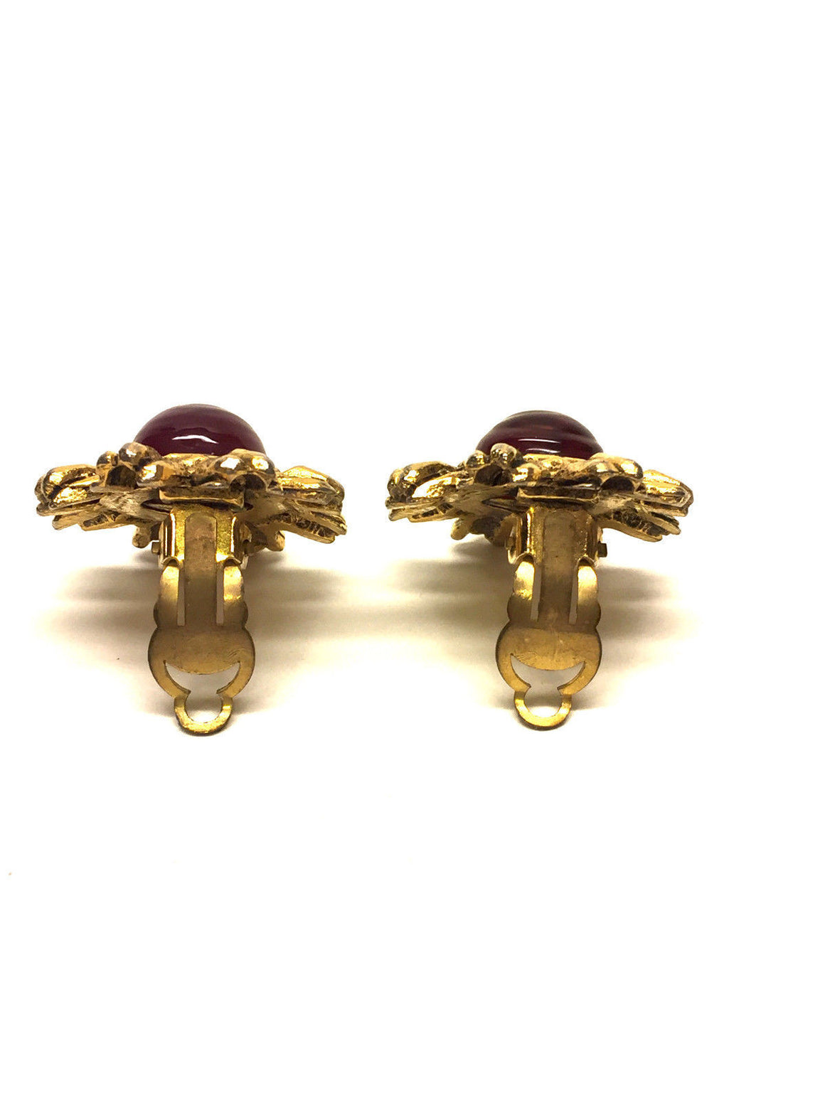bisbiz.com CHANEL Vintage Gilt Metal Red Gripoix Flower Clip-on Earrings - Bis Luxury Resale
