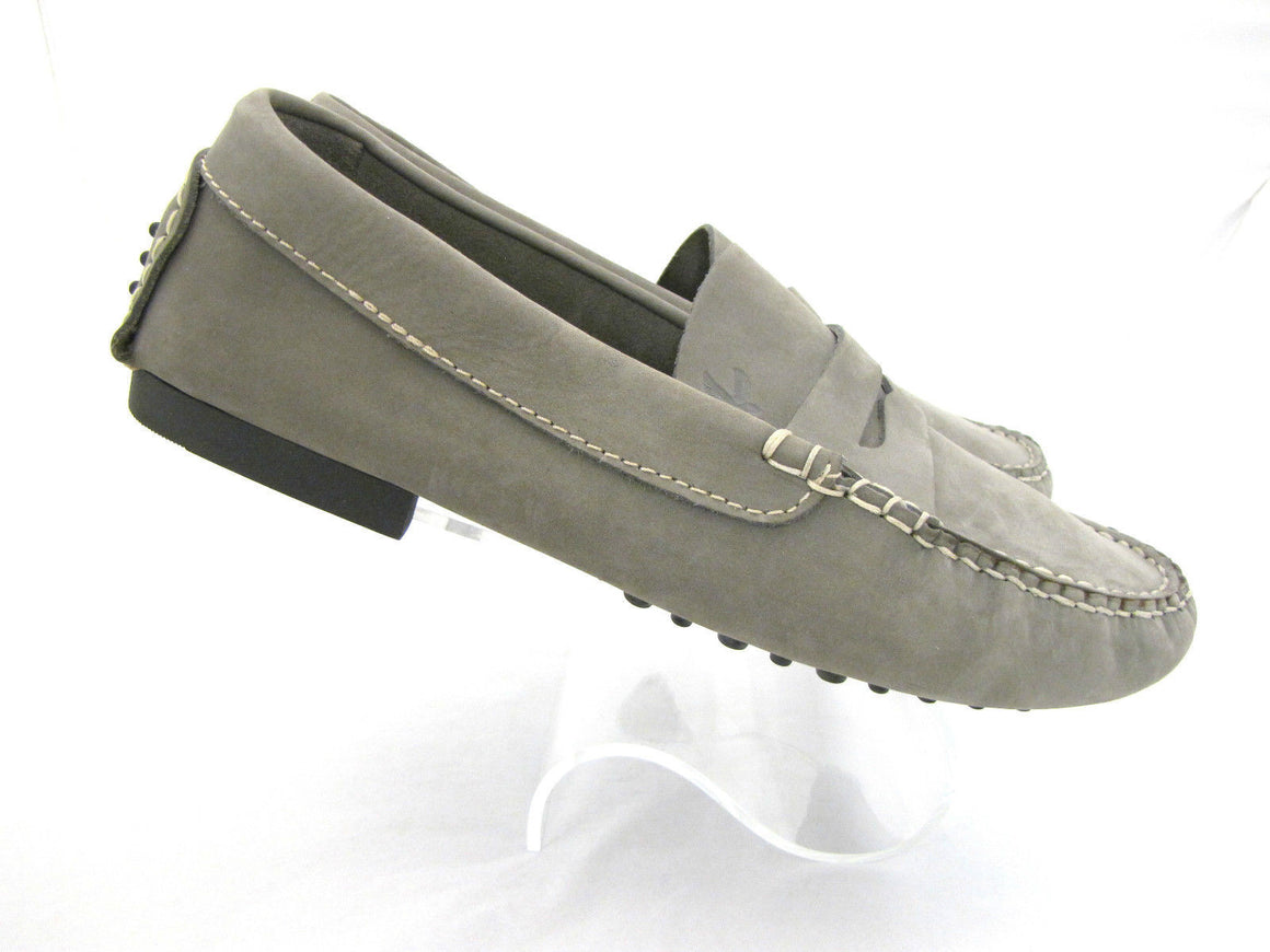 bisbiz.com CANYON Grey Nubuck Pebbled Rubber Soles Men's Driving Penny Loafers Sz45 /US12 - Bis Luxury Resale