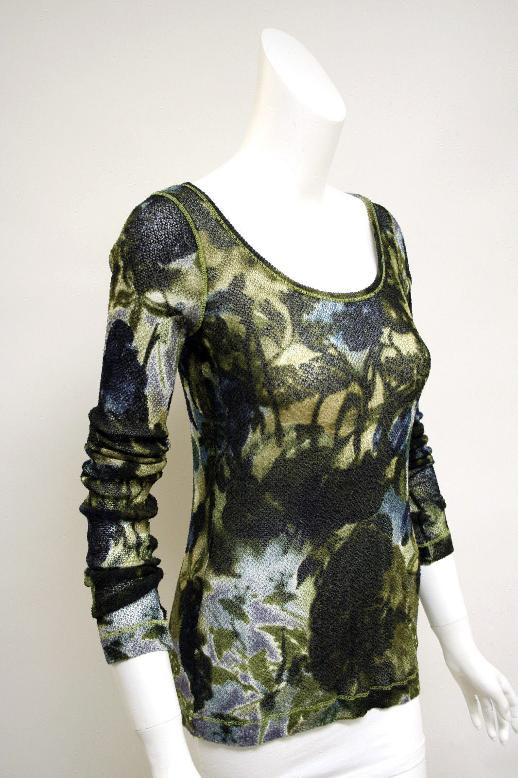 bisbiz.com FUZZI Green/Teal/Purple Abstract Floral Wool Blend Scoop Neck Top Size: Large - Bis Luxury Resale