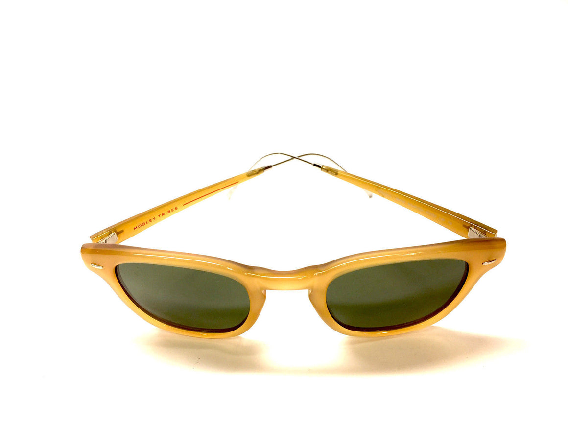 MOSLEY TRIBES  Amber Frame Green Tint Lenses  Sunglasses  with Silver-tone Metal Sides