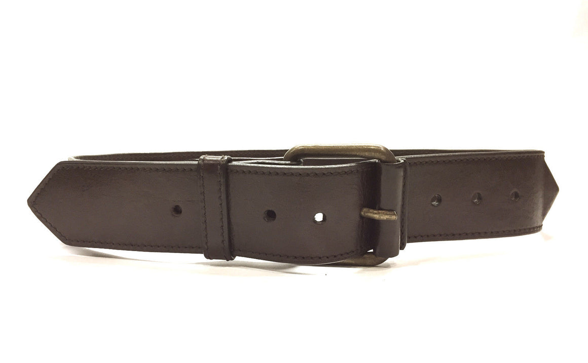 bisbiz.com BARNEYS New York Brown Grained Leather Mogul Rock Studded Waist Belt Size: 75 /30 - Bis Luxury Resale
